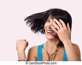 capelli, donna sorridente, matto