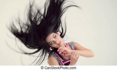 capelli, donna, spostamento, lungo