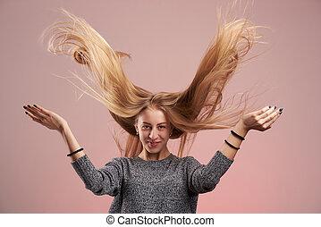 capelli, donna, volare