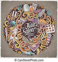 capelli, doodles, salone, cartone animato, illustrazione