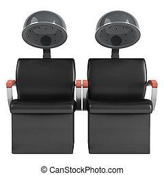 capelli, doppio, essiccatore, sedie