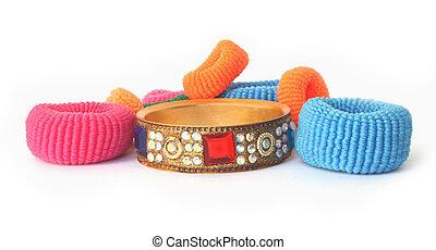 capelli, elastics, pietra, braccialetto