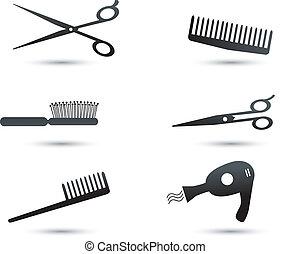 capelli, elementi, accessori, icone