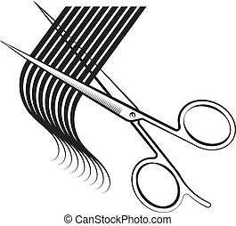 capelli, forbici, riccio, taglio