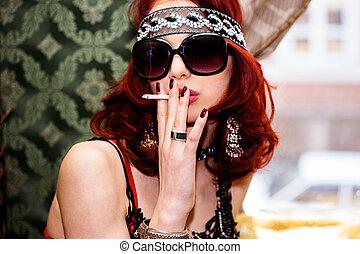 capelli, fumo, donna, rosso