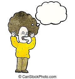 capelli, grande, cartone animato, uomo