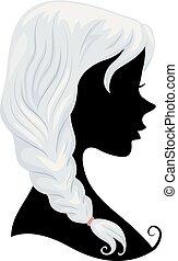 capelli, grigio, ragazza, silhouette, illustrazione