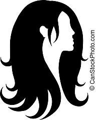 capelli, icona, vettore
