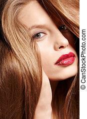 capelli, impressionante, donna, rosso
