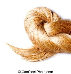capelli, isolato, biondo, sano, bianco