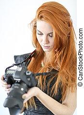 capelli, macchina fotografica, donna, dslr, rosso