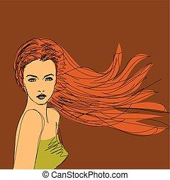 capelli, marrone, ragazza, moda