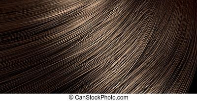 capelli, marrone, soffiando, closeup