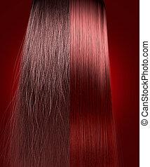 capelli, paragone, diritto, frizzy, rosso