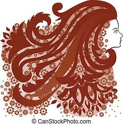 capelli, ragazza, fiore