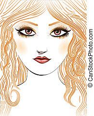 capelli, ragazza, giallo, bellezza, faccia