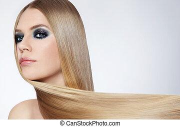 capelli, ragazza, lungo