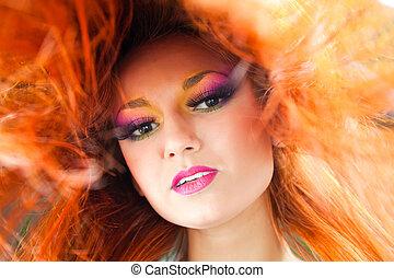 capelli, ragazza, rosso, lungo