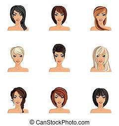 capelli, ragazza, set, stile