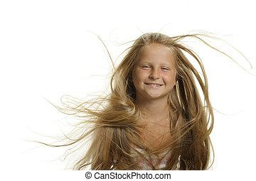 capelli, ragazza, volare, biondo, carino