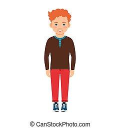 capelli, ragazzo, camicia, rosso, marrone