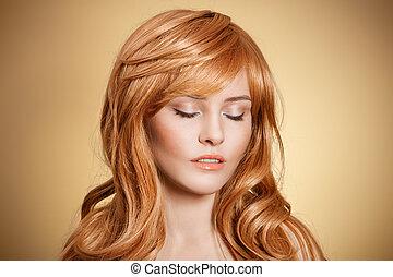 capelli ricci, bellezza, portrait.