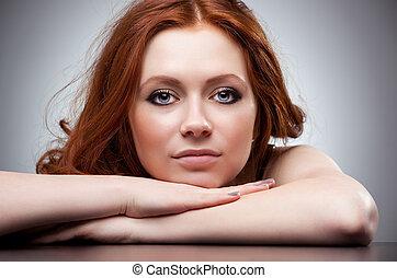 capelli, ritratto, donna, giovane, rosso