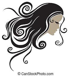 capelli, ritratto, donna, lungo