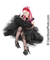 capelli rosa, ragazza
