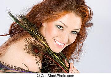 capelli, rosso, bellezza