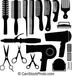 capelli, vettore, silhouette, accessori