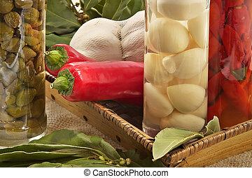 Capers,garlic, bay leaf, hot pepper