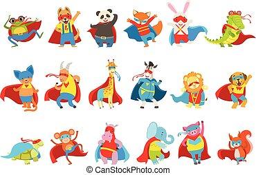 capi, set, animali, vestito, maschere, superheroes