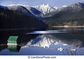 Capilano Reservoir Lake Green Building Dam Snowy Two Lions...
