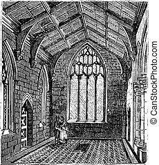 capilla, grabado, vendimia, santo, iglesia, botolph's, ...