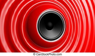 capillare, astratto, altoparlante, rosso, onda