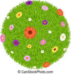 capim, bola, com, colorido, flores