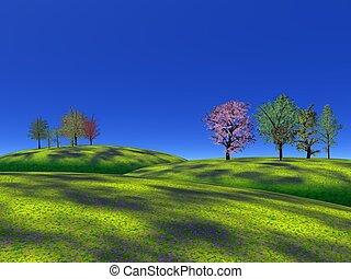 capim, colinas, árvores