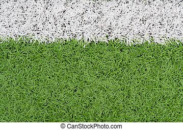capim, e, borda, linha, ligado, campo futebol, como, fundo