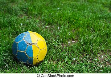 capim, futebol, antigas, roto, bola