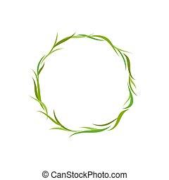 capim, grinalda, texto, fresco, floral, ou, caixa, verde, label., leaves., redondo