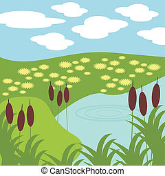 capim, lago, ilustração