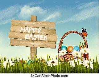 capim, madeira, primavera, ovos, experiência., vector., cesta, flores, páscoa, sinal.