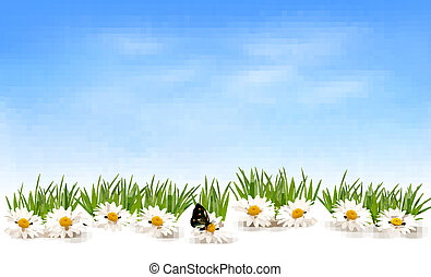 capim, natureza, vetorial, experiência verde, buterfly., flores