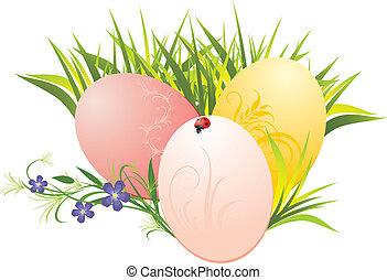 capim, ovos, flores, páscoa