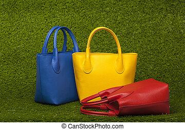 capim, verde, bolsas