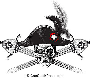 capitão, chapéu, cranio
