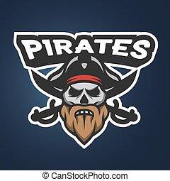 capitão, emblem., pirata, logotipo, cranio