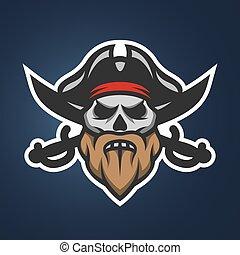 capitão, pirata, cranio, swords.