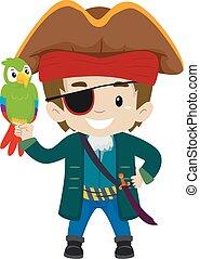 capitão, pirata, papagaio, criança